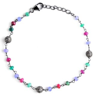 Jeweltique Designs Sterling Silver 8.08Ctw Diamond & Multi Gemstone Bracelet