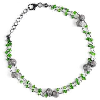 Jeweltique Designs Sterling Silver Diamond & Emerald Bracelet