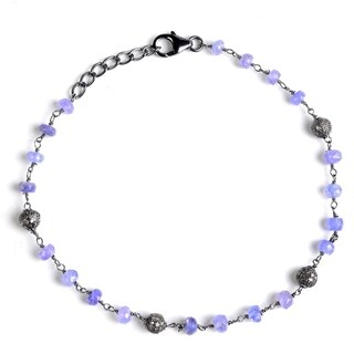 Jeweltique Designs Sterling Silver 9.46 Carat Diamond & Tanzanite Bracelet