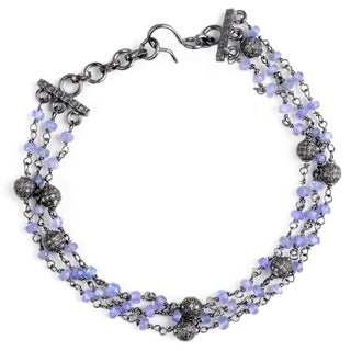 Jeweltique Designs 925 Sterling Silver 15.96 Carat Diamond & Tanzanite Link Bracelet