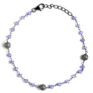 Jeweltique Designs Silver 8.48 Carat Diamond & Tanzanite Bracelet
