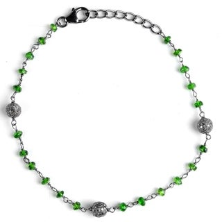 Jeweltique Designs Sterling Silver 5.18 Carat Diamond & Chrome Diopside Bracelet