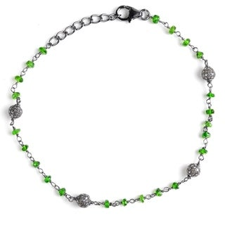 Jeweltique Designs Sterling Silver 6.02 Carat Diamond & Chrome Diopside Bracelet