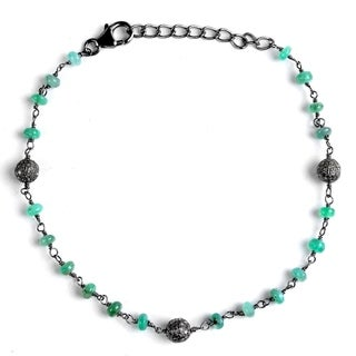 Jeweltique Designs Sterling Silver 7.28 Carat Diamond & Emerald Bracelet