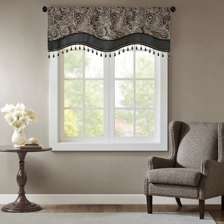 Link to Madison Park Wellington Jacquard Window Rod Pocket Valance with Beads 3 Color Option Similar Items in Window Treatments