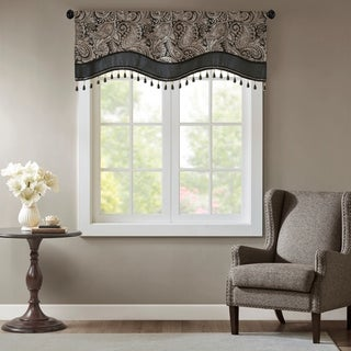 Madison Park Wellington Jacquard Window Rod Pocket Valance With Beads 3 Color Option