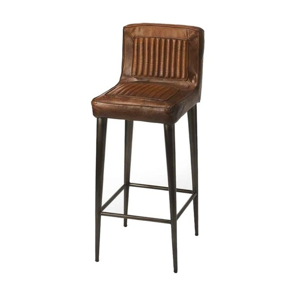 Offex Maxwell Dark Brown Leather Iron Bar Stool Square