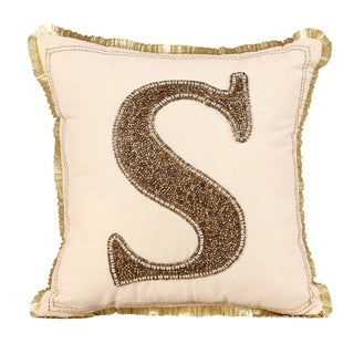 "Handmade Beaded Decorative Alphabet Pillow ""S"""