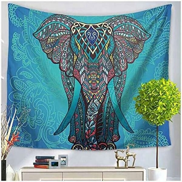 Bohemian Handmade Green/Blue Elephant Hanging Blanket Tapestry