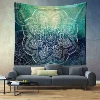 Bohemian Handmade Tapestry Green Flower Hanging Blanket for Living Room/Bedroom