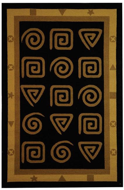 Safavieh Hand-hooked Geo Black Wool Rug - 5'3 x 8'3