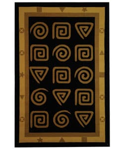 Safavieh Hand-hooked Geo Black Wool Rug - 5'3 x 8'3 - Thumbnail 0