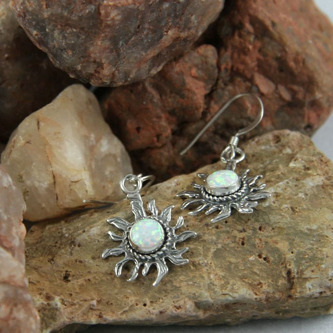 Handcrafted Glorious White Opal Earrings (India)