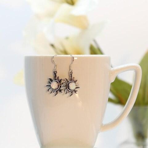 Handmade Glorious White Opal Earrings (India)