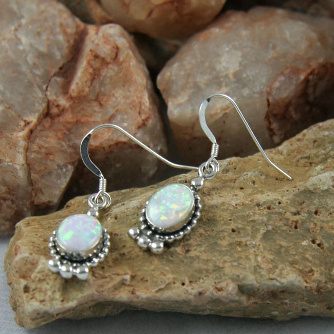 Handmade Oval Elegance White Opal Earrings (India) - Thumbnail 0