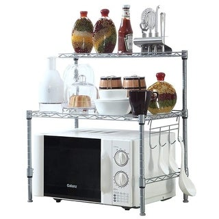 JS HOME Microwave Oven Rack, 2-tier Adjustable Kitchen Storage Shelf - N/A