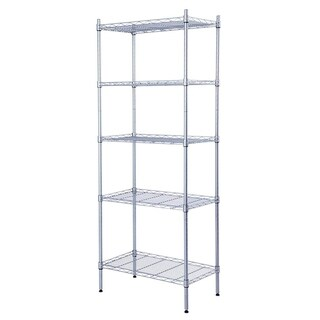 JS HOME 5-Tier Wire Shelving Unit Heavy Duty Storage Organizer, Silver - N/A