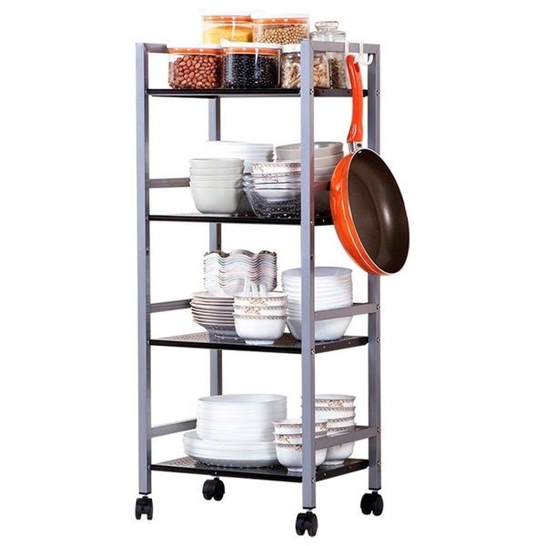 4-Tier Kitchen Storage Cart Multifunctional Metal Rolling Utility Cart