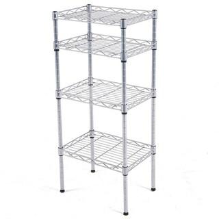 JS HOME 4-Tier Kitchen Storage Rack Wire Shelving Unit- Chrome