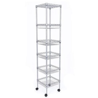 JS HOME 6-Tier Kitchen Storage Rack Sturdy Wire Shelving, Silver