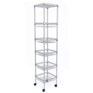 JS HOME 6-Tier Kitchen Storage Rack Sturdy Wire Shelving, Silver - N/A