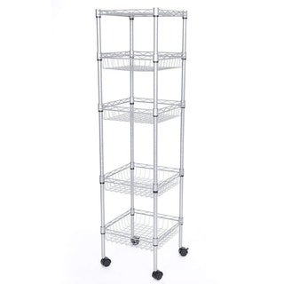 JS HOME 5-Tier Wire Shelf Durable Silver Kitchen Storage Rack