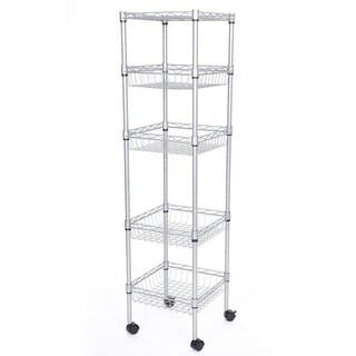 JS HOME 5-Tier Wire Shelf Durable Silver Kitchen Storage Rack - N/A