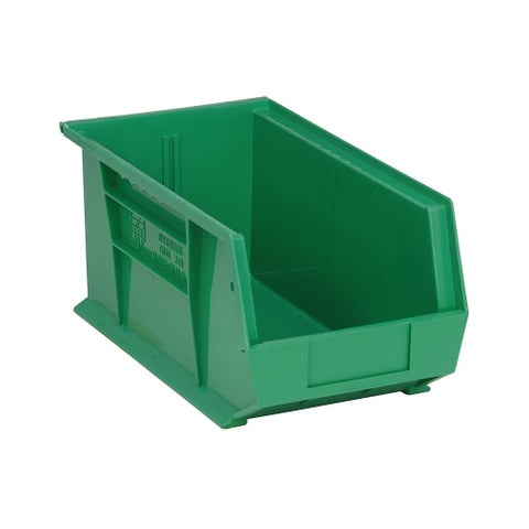 "Quantum Polypropylene Green Ultra Stack and Hang Bin 14 3/4"" x 8 1/4"" x 7"" - 12 Pack"