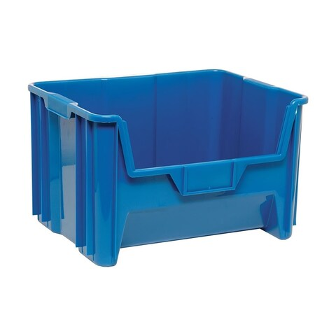"""Quantum Polyethylene Blue Giant Stack Container 15 1/4""""Lx 19 7/8""""Wx 12 7/16""""H - 3 Pack"""