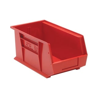 "Quantum Polypropylene Red Ultra Stack and Hang Bin 14 3/4"" x 8 1/4"" x 7"" - 12 Pack"