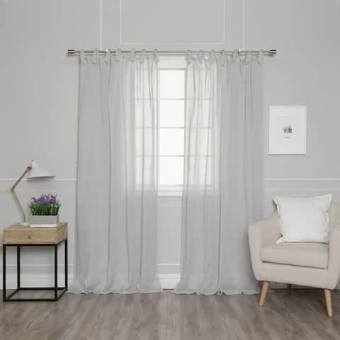 "Aurora Home Textured Faux Linen Romantic Tie Top Curtain Panel Pair - 52""W x 84""L - 52""W x 84""L"