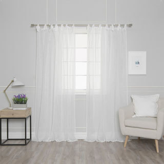 "Aurora Home Textured Faux Linen Romantic Tie Top Curtain Panel Pair - 52""W x 84""L"