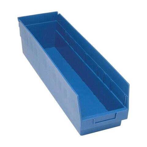 "Quantum Storage Systems Store More 6"" Polypropylene Blue Shelf Bin - 23 5/8"" x 6 5/8"" x 6"" - 8 Pack"