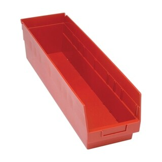 "Quantum Storage Systems Store More 6"" Polypropylene Red Shelf Bin - 23 5/8"" x 6 5/8"" x 6"" - 8 Pack"