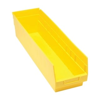 "Quantum Storage Systems Store More 6"" Polypropylene Yellow Shelf Bin 23 5/8"" x 6 5/8"" x 6"" - 8 Pack"