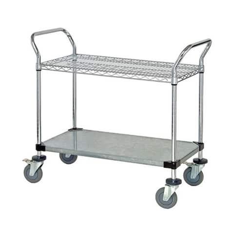 "Quantum 1 Wire Shelf and 1 Solid Shelf Mobile Utility Cart - 18""W x 36""L x 37 1/2""H"