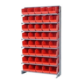 "Quantum Storage Systems Store More Single Sided Pick Rack System - 40 QSB202 6"" Shelf Bin - Complete Package - Red"