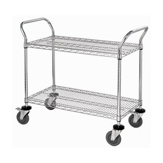 "Quantum 2 Wire Shelf Mobile Utility Cart in Chrome Finish - 24""W x 48""L x 37-1/2""H"