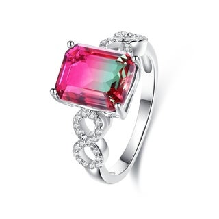 Rhodium Plated Lab Created Watermelon Tourmaline Ring