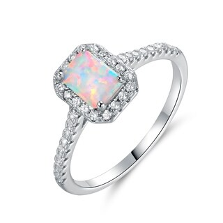 White Gold Plated Lab Created Fire Opal & Cubic Zirconia Halo Ring