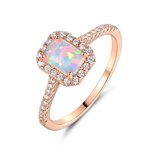 Rose Gold Plated Lab Created Fire Opal Cubic Zirconia Ring