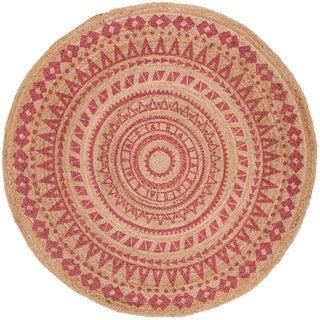 Safavieh Handmade Natural Fiber Valentien Casual Jute Rug (8 x 8 Round - Pink/Natural)