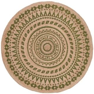 Safavieh Handmade Natural Fiber Valentien Casual Jute Rug (8 x 8 Round - Green/Natural)
