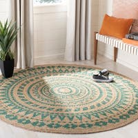 Safavieh Hand-Woven Natural Fiber Coastal Teal / Natural Jute Rug - 6' x 6' Round