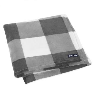 IZOD Gingham Grey Blanket