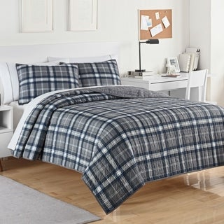IZOD Byron Plaid Grey/Blue Quilt Set