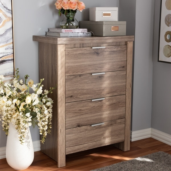 Contemporary Oak Brown 4-Drawer Chest by Baxton Studio. Opens flyout.