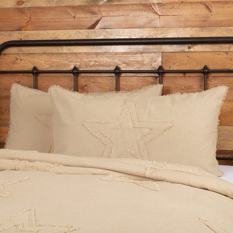 VHC Antique Creme White Holiday Farmhouse Bedding Burlap Vintage Star Sham