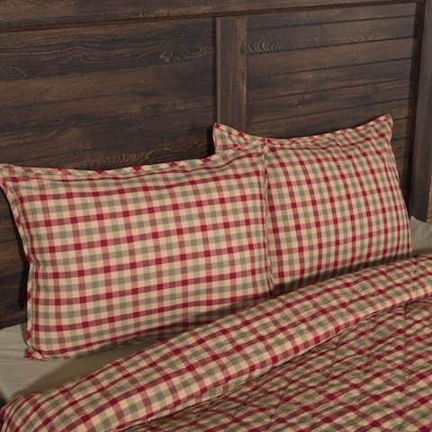 Tan Rustic Bedding VHC Jonathan Plaid Sham Cotton Plaid