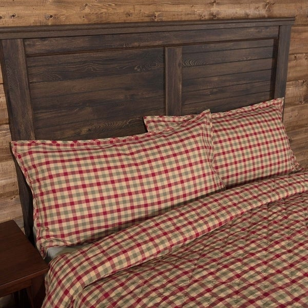 VHC Natural Tan Holiday Classic Country Bedding Jonathan Plaid Sham